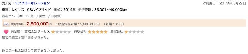 滋賀のリンクコーポレーションで車を売却した方の口コミ