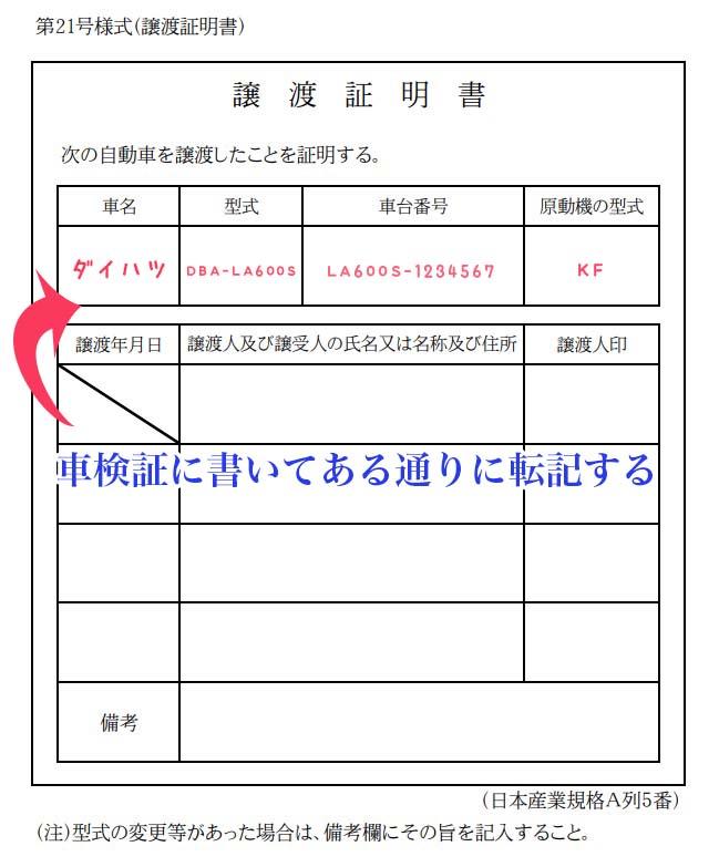 譲渡証明書の車の情報を記入する