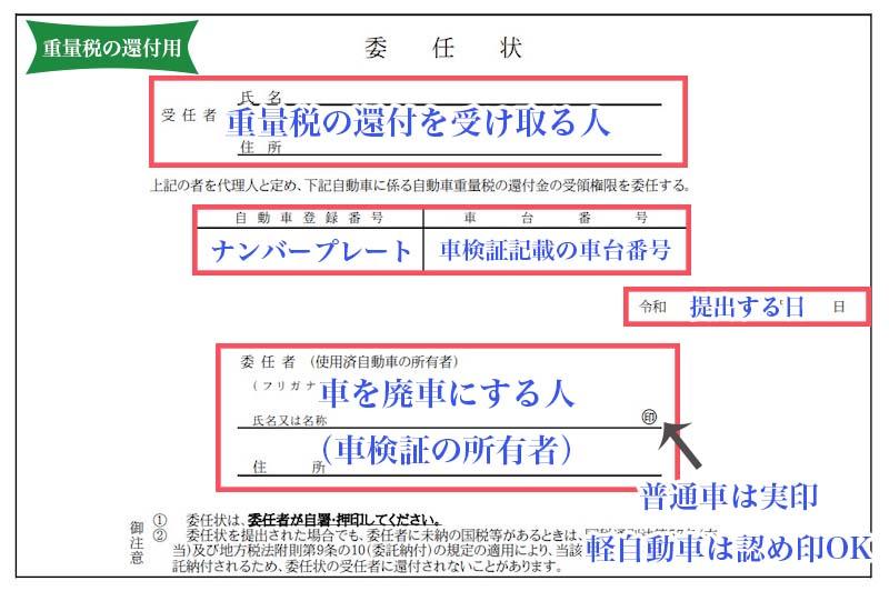 重量税の還付申請用の委任状の書き方